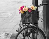 Selective desaturation of an old bicycle with flowers in the bas — Stock Photo