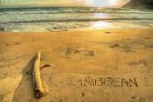 Caribbean writing at sunset — ストック写真