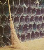 Broom en fishnets in vintage Toon — Stockfoto