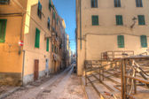 Colorful backstreet in Alghero old town — Stock Photo