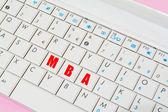Mba-Schlüssel in einer Laptop-Tastatur — Stockfoto