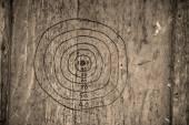 Hand drawn dartboard on a wooden board in sepia tone — Stock Photo