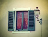 Old window with lamppost in vintage tone — Stock Photo