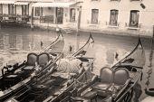Three gondolas in Venice, Italy — Stock Photo