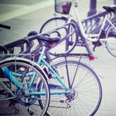 Bicycles in an italian square — Stock Photo