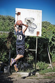 Slam dunk in the park — Stock Photo