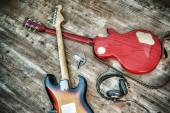 Two electric guitars and headphones in hdr — Stock Photo