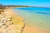 Golden shore in Capo Testa — Stock Photo
