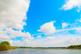 Calik lagoon under white clouds — Stock Photo