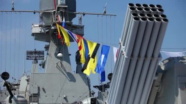 Naval flags on a warship — Stock Video