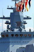 Naval flags on a warship — Stock Photo