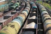 Transportation of oil products by rail — Stock Photo