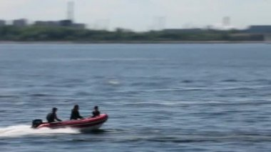 Rigid Inflatable Boat high speed — Stock Video