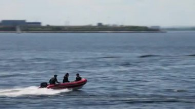 Rigid Inflatable Boat slow motion — Stock Video