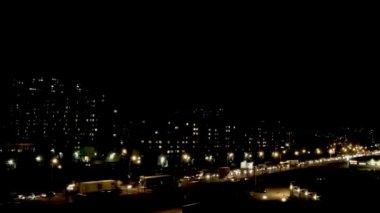Night city Busy traffic — Stock Video