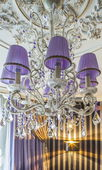 Crystal chandelier with shade — Stock Photo