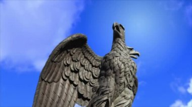 Double headed eagle spreads its wings — Stock Video