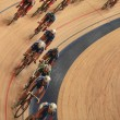 Cyclists to ride fast in a curve  top view — Stock Photo #69142949