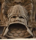 Military heraldic mask bas relief — Stock Photo