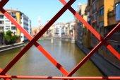 Red bridge Steel structure — Stock Photo
