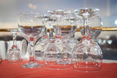 Wine glasses before a banquet — Fotografia Stock