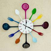 Kitchen clock witch spoon and fork.  — Stock Photo