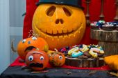 Pumpkins on the decorated table. — Stock Photo