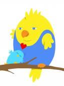 Two cartoon birds in love — Stock Vector
