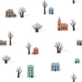 Seamless pattern of trees and buildings in winter — ストックベクタ