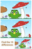 Kids spot the difference puzzle with a little bird — Stockvektor