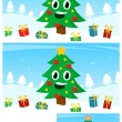 Kids puzzle with a happy Christmas tree — Stock Vector #58275127
