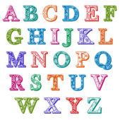 Set completo colorato fantasia lettere alfabeto — Vettoriale Stock