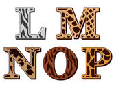 L, M, N, O, P alfabet litery wzory zwierząt futerkowych — Wektor stockowy