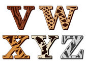 V, W, X, Y, Z alphabet letters animal fur patterns — Stockvektor