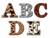 A, B, C, D, E alphabet letters animal fur patterns — Stock Vector