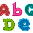 ABCDE funky cute alphabet letters — Stock Vector #59599197