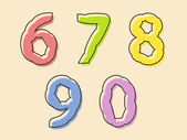 Colorful set of digits 67890 with a bloated shape — Stock Vector