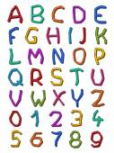 Colorful set of irregular letters and digits — Stock Vector