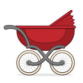 Colorful red buggy or baby carriage — Stock Vector