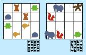 Easy sudoku puzzle with animals for children — Stock Vector