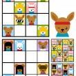 Kids sudoku puzzle with cartoon animal heads — Stock Vector #73557357