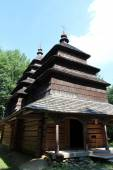 Nice wooden church in village of Western Ukraine — Stok fotoğraf