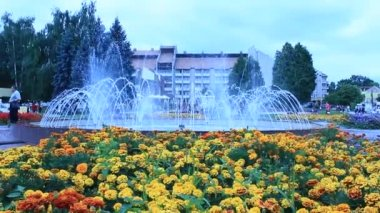 Fountain in city park in Drohobych — Stock Video