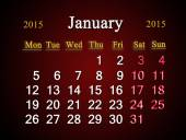 Calendar on January of 2015 year on claret — Foto Stock
