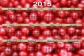 Calendar for 2015 year on the red cherry background — Stock Photo
