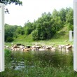 Landscape with the river and cows — Stock Photo #57332927