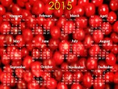 Calendar for 2015 year on the red cherry's background — Stock Photo