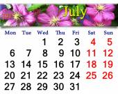 Calendar for July of 2015 year with image of clematis — Stockfoto