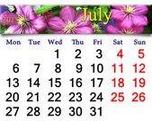 Calendar for July of 2015 year with image of clematis — Fotografia Stock