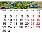 Calendar for March of 2015 year with snowdrops — Stock Photo